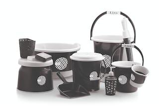Liza Plastic Bucket;Tub & Mug Bathroom Set 11 pcs;Heavy Duty;Large Capacity (Black)