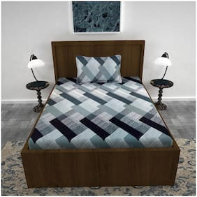 LO SVAGO Cotton Geometric Single Size Bedsheet 120 TC ( 1 Bedsheet With 1 Pillow Covers , Grey )