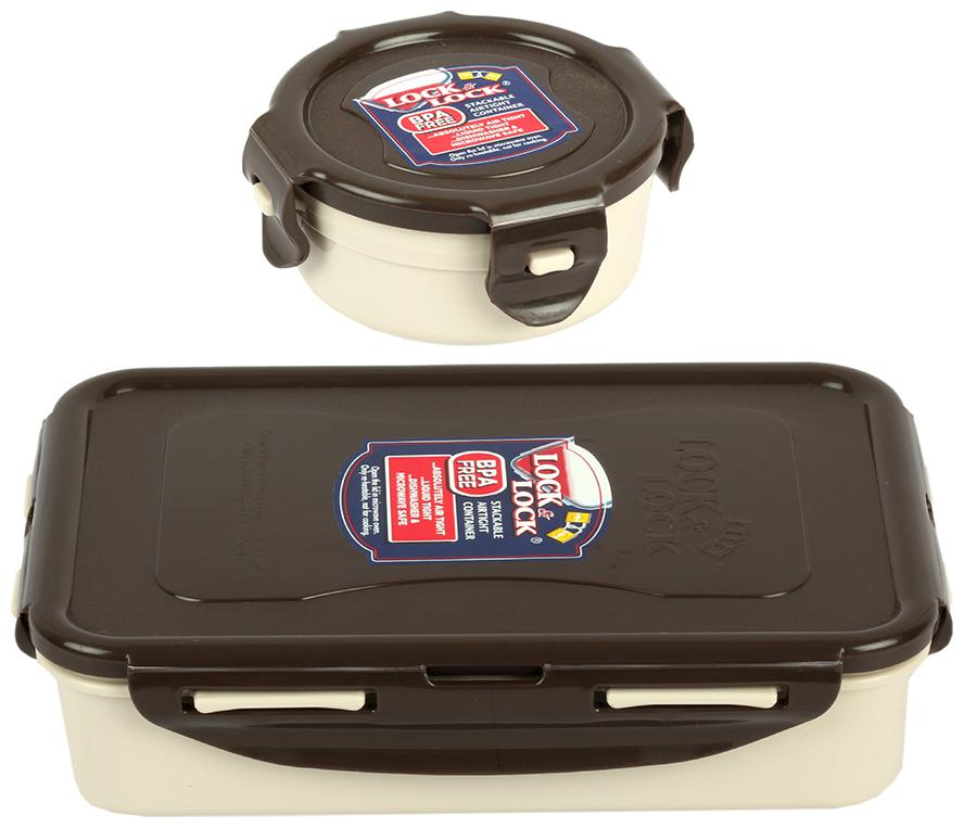 Lock   Lock Cream Classic Lunch Box Food Container Set  Set of 2  by Lock And Lock