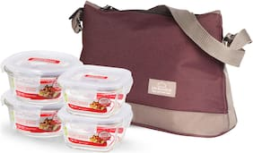 Lock & Lock 4 Containers Glass Lunch Box - Assorted