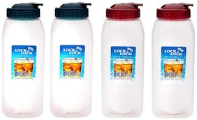 Lock & Lock Plastic Transparent Water Bottle ( 900 ml , Set of 4 )