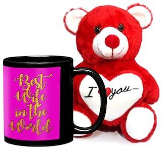 LOF Birthday Gift For WifeGift HusbandLove Teddy Coffe Mug Combo025