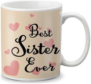 LOF Diwali Gift Items Bhaidooj Special Gift for Sisters (Best Sister Ever) Printed Mug 325ml