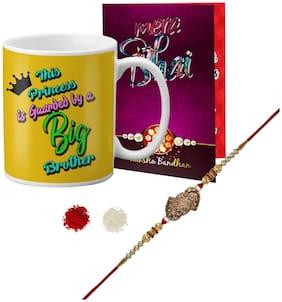 LOF Gift Fancy Designer Rakhi, Mug & Greeting Card Combo For Brother ll LR21-WHMUG-038-Card-R14
