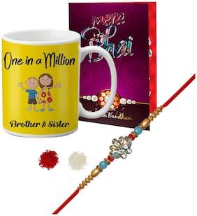 LOF Gift Fancy Designer Rakhi, Mug & Greeting Card Combo For Brother ll LR21-WHMUG-037-Card-R8