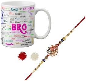 LOF Gift Fancy Designer Rakhi & Mug Combo For Brother ll LR21-WHMUG181-R22