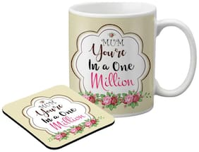 LOF Gifts For Mum You're a in a One Million Graphics Printed Coaster and Mug Combo