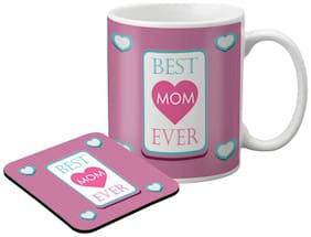 LOF Gifts For Best Mom Ever Gifts For Mother's Day Graphics Printed Coaster and Mug Combo