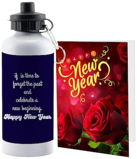 LOF Happy New Year Sipper Bottle Gift set A Beautiful Message Wishes Present For Your Girlfriend;Boyfriend;Friend's & Family With Greeting Message Card D18