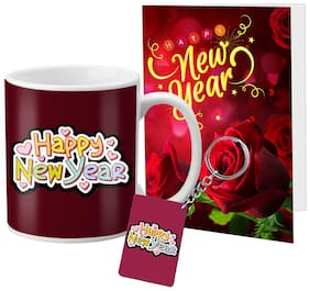 LOF Happy New Year Mug Gift set A Beautiful Message Wishes Present For Your Girlfriend;Boyfriend;Friend's & Family Keychain With Greeting Message Card D05