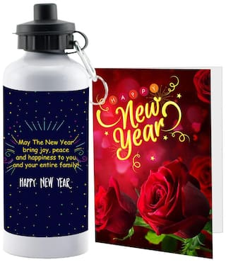 LOF Happy New Year Sipper Bottle Gift set A Beautiful Message Wishes Present For Your Girlfriend;Boyfriend;Friend's & Family With Greeting Message Card D32