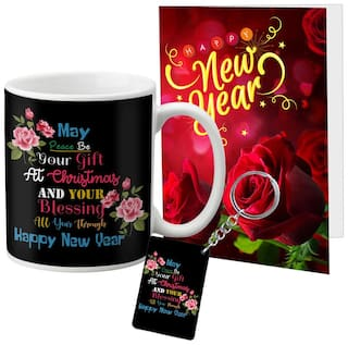 LOF Happy New Year Mug Gift set A Beautiful Message Wishes Present For Your Girlfriend;Boyfriend;Friend's & Family Keychain With Greeting Message Card D36
