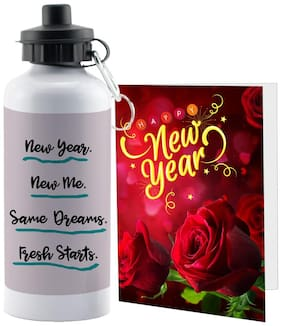 LOF Happy New Year Sipper Bottle Gift set A Beautiful Message Wishes Present For Your Girlfriend;Boyfriend;Friend's & Family With Greeting Message Card D02