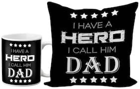 LOF I Have A Hero I Call Him Dad Gifts For Father's Day and Birthday Anniversary 325 ml Ceramic Coffee Mug With Printed Coaster Combo