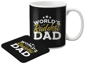 LOF Mere Papa Gifts For Father's Day Gifts Combo Ceramic Coffee Mug With Printed Coaster007