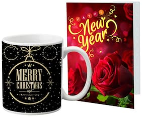 LOF New Year Wishes Mug Gift set Best Combination Present For Your Girlfriend;Boyfriend;Friend's & Family With Greeting Message Card D52