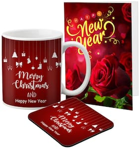 LOF New Year Quotes Mug Gift set A Beautiful Message Wishes Present For Your Girlfriend;Boyfriend;Friend's & Family With Greeting Message Card D36