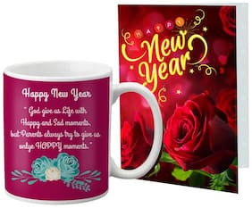 LOF New Year Wishes Mug Gift set Best Combination Present For Your Girlfriend;Boyfriend;Friend's & Family With Greeting Message Card D59
