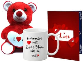 LOF Red Teddy Bear With Love Heart With Full Printed A4 Greeting Card & Mug-051
