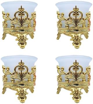 LOF Tea Light Candle/ Tlight Set/ Lighting Ideas/ Stylish Crown Pack Of 4 With Tea Lights For Diwali Home Decoration Multicolor