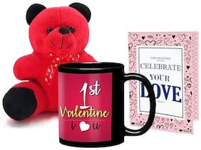 Lof Valentine Gift Set (Black Coffee Mug;Teddy & Cupid Blessing Card)-1