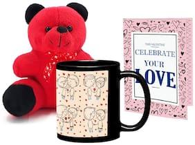 Lof Valentine Gift Set (Black Coffee Mug;Teddy & Cupid Blessing Card)-20