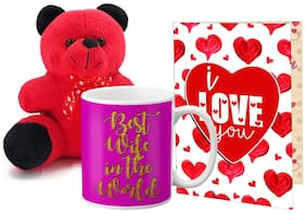 LOF Valentines Gift For Wife Teddy Soft Toy Gift Combo Girlfriend Valentine GiftTeddy Mug and Greeting Set048