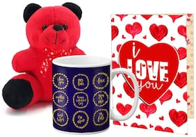 LOF Valentines Gift For Wife Teddy Soft Toy Gift Combo Girlfriend Valentine GiftTeddy Mug and Greeting Set035
