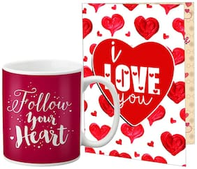 LOF Valentine Gift ||Wife Gift For Valentine||Husband Gift For Valentine Special Gift Set Coffee Mug Printed A4 Greeting Card Full Printed 0036