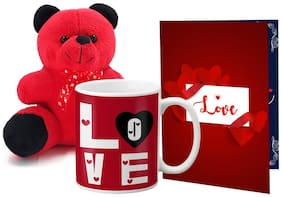 LOF Valentines Gift For Wife Teddy Soft Toy Gift Combo Girlfriend Valentine GiftTeddy Mug and Greeting Set053
