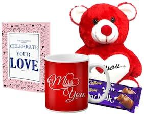Lof Valentine Gift Set (Coffee Mug;ILU Teddy;2 Choco & Cupid Blessing Card)-7