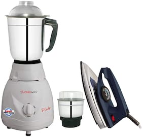 Longway Pluto Mixer Grinder 600 W ABS Plastic 2 Jar with Iron Combo Pack (White)