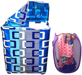 LooMantha 1pc Knitting Semi-Automatic Washing Machine Cover & 1 pc 20L Mesh Laundry Bag/Basket