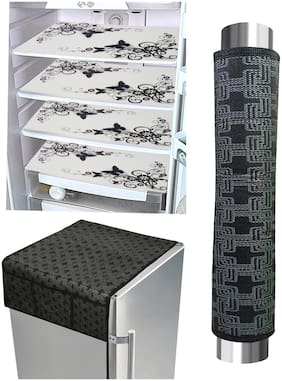 LooMantha  4Pc Fridge Mat 1Pc Fridge Top Cover and 1Pc Handle Cover