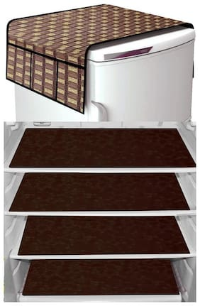 Loomantha Combo Pack Of 4pcs Fridge Mat;1pc Fridge Top Cover