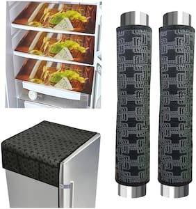 Loomantha Combo Pack Of 3Pc Fridge Mat;1Pc Fridge Top Cover And 2Pc Handle Cover