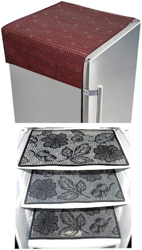 LooMantha Combo 3 Pc Fridge Mat and 1 Pc Fridge Top Cover