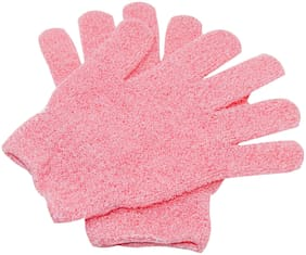 LooMantha Exfoliating Body Scrubber Bath Gloves (Pack of 2,Pink)