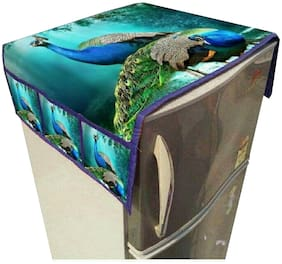 LooMantha Multicolor Jute Fridge/Refrigerator Top Cover With 6 Pocket