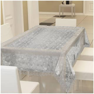 LooMantha Self Design 6 Seater 3D Dinning Table Cover (PVC, Pack of 1, With Silver Lace)