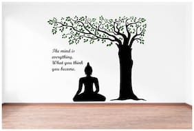 Rawpockets Wall Stickers  ' Lord Buddha under Tree and Quote on Mind '