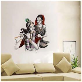Rawpockets Wall Stickers  ' Lord Krishna with Radha Wall Decal Sticker '