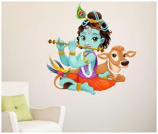 WallTola Lord Krishna with Flute Cute Kids Room God Wall Sticker