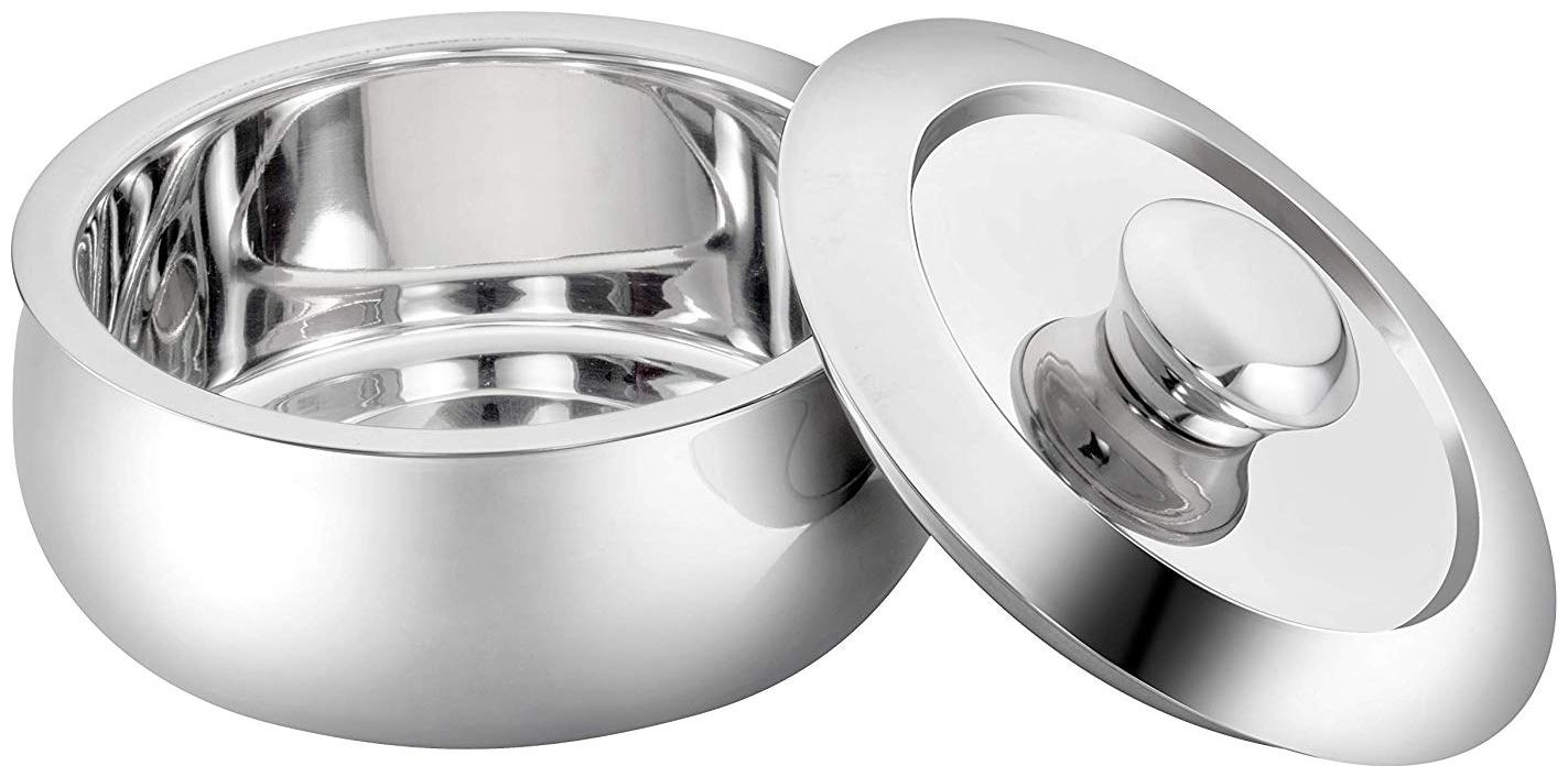 Losange Crystal Clear Finish in Silver Color/Serving Casserole 3500 ml Silver/Stainless Steel