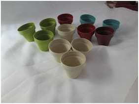 """Lot of 12 Assted Color Small Plastic 2"""" Flower Pots - Crafts-Gardening, New WOT"""