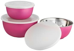 Lovato Micro Stainless Steel Plastic Coated Bowls with Lid Bowl Set (Pink, Pack of 3)