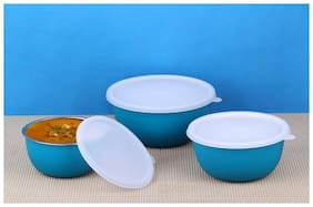 Lovato Micro Stainless Steel Plastic Coated Bowls with Lid Bowl Set (Blue, Pack of 3)