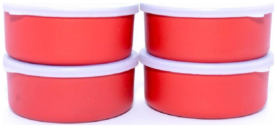 Lovato Microwave Safe Stainless Steel Small Containers Bowl for Office / Home   Set of 4  Orange, 300ml Approx.