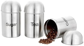 Lovato Tea, Coffee and Sugar Jar Set Canisters - 700 ml Container  (Pack of 3, Silver)