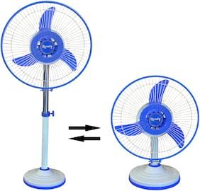 Lovely Solar Fan DC 12V 24Watt SanChi 2in1 Covertible 304 mm Pedestable Fan (2 Speed, White & Blue)